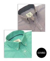 Red Green Gingham Check Button Down Sports Shirt Combo Pack �'�2999.00