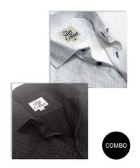 White and Black Satin Polka Dot Shirt Combo Pack �'�2999.00