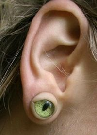 I might have to make some of these ear rings for next Halloween. acrylic eyes and some self hardening clay (ear ring posts and backs) everything from the craft store.