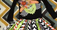 Spooky Halloween Multi Chevron witch shirt, rag tutu skirt and hair bow size 4-5 ready to go on Etsy, $69.99