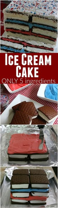 This fun red, white and blue Ice Cream Sandwiches Cake is super easy and really fun for your 4th of July Celebrations! Just 5 simple ingredients and you have a