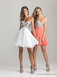 Sparkly Sequin Short Empire Prom Dress 2014 Cheap