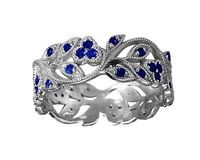 18K White gold Leaves Band with 42 Sapphires Filigree Ring Milgrain Twig Ring $1170.20