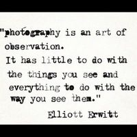 """""""photography is an art of observation. It has little to do with the things you see and everything to do with the way you see them"""" ~ Elliott Erwitt"""