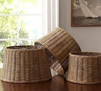 Woven Wicker Tapered Drum Lamp Shade- pottery barn shade to top the lamps I swiped from my daughter....filling the glass bottoms with seashells