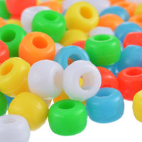 Pack of 100 Plastic Pony Beads. Assorted Colours. 7mm Diameter. £3.59