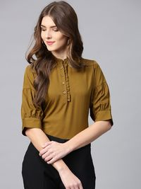 Women Olive Green Solid Shirt Style Top �'�1099.00