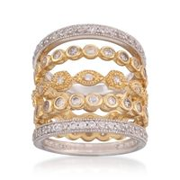 14K Yellow Gold Silver Eternity Ring Stacking Set $225.00