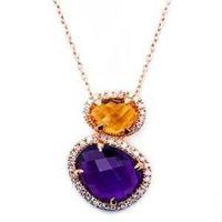 Pave Set Genuine Cabacon Cut Amethyst, Citrine And Diamond 14kt Rose Gold Necklace Pendant Wth Chain $1275.41