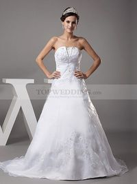 EMBROIDERED STRAPLESS PRINCESS SATIN WEDDING GOWN
