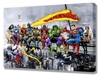 MORE Marvel DC Superheroes Skyscraper Lunch! - Mounted Canvas Wall Art (various sizes) Captain America, Batman, Iron Man & many more! £19.99