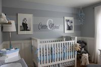 This gray nursery is stunning #nursery Benjamin Moore Wall Color- Silver Lake in the Matte Finish Stripes - Marina Gray in Semi Gloss