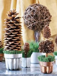 How to make a forest scene + more fall decorating ideas: http://www.midwestliving.com/homes/seasonal-decorating/easy-fall-decorating-projects/?page=19,0