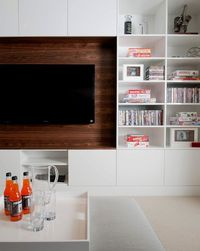 Portico Design Group - living rooms - modern white built-ins, built-in bookcases, built-in media center, built-in media cabinet, built-in tv...