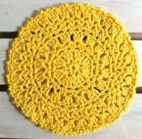 Crochet dishcloth pattern. Crochet Hook: Size H-8 Rnd 1: (Right Side) Starting at center, ch 4, sl st to first ch to form ring; ch 1, (sc in ring, ch 3) 8 times; join with sl st to first sc. Rnd 2: Sl st to first ch-3 sp, ch 3 (counts ...