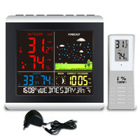 Wireless Weather Station Temperature Humidity Sensor Colorful LCD Display Weather Forecast RCC Clock In/outdoor