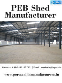 EPACK is a renowned name in the Indian construction industry and provide top quality PEB shed for customers. We are the prominent manufacturer, exporter and supplier of PEB Industrial Sheds. http://www.portacabinmanufacturers.in/peb-industrial-shed.html
