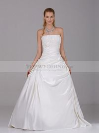 PRINCESS STYLE STRAPLESS SATIN WEDDING GOWN WITH APPLIQUES