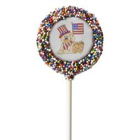 Patriotic Bear With Flag Chocolate Covered Oreo Pop