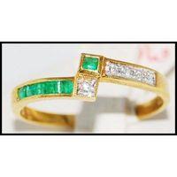 Genuine Diamond Gemstone Emerald 18K Yellow Gold Ring [R0051]