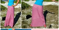 "Modern striped maxi skirt pattern with stripes on the diagonal, horizontal and vertical. In sizes 34-56"" hips and instructions to show you how to make it."