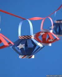 Gather the kids to help you make decorations for your 4th of July celebaration. Paper laterns for Independance day from Martha Stewart.