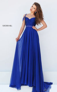 Royal Sherri Hill 50086 Beaded Knotted Ruched Long Evening