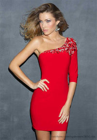 One Shoulder Homecoming Dress Long Sleeve Night Moves 7045
