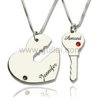 Gullei.com Lock and Key Birthstones Couple Necklaces Anniversary Gift