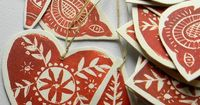 Lino Print Christmas Tree Ornaments