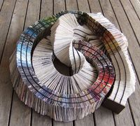 'serpens volumen - arcus pluvius' - the rainbow serpent coptic bound book- detail of the kettle stitch of the spine and the rainbow arrangement of pages