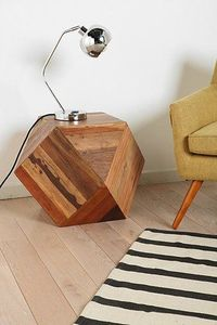 Faceted Woodblock Side Table » Love this table!