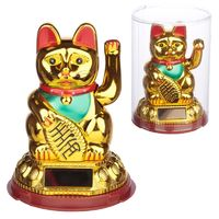 Collectable Waving Lucky Cat Maneki Neko Solar Powered Pal  These solar pals are a perfect gift for cat lovers. Made from plastic they have a built in solar panel that does not need batteries, they just need a sunny window sill to get them dancing and w...