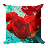 Mint Green and Red Ink Drop Square Pillow $25.00