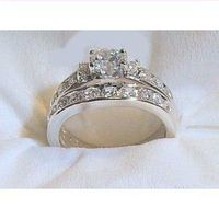 14k White Gold .925 Sterling Silver Engagement Wedding Ring