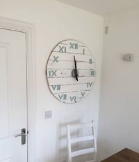 Clock Wall Large 77cm / 30.3 inch Diameter White with Duck Egg Roman Numerals £109.00