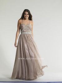 Taupe a loose fitting evening gown Dave and Johnny 10646  Taupe a loose fitting evening gown Dave and Johnny 10646