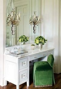 a touch of green vanity | green and white vanity | green chair | small chandelier | interior design