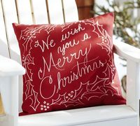 We Wish You a Merry Christmas Outdoor Pillow | Pottery Barn