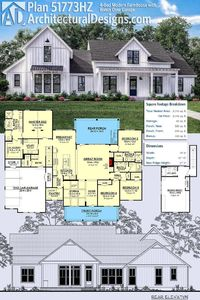 Architectural Designs Modern Farmhouse Plan *PERFECT 51773HZ gives you 4 bedrooms and has an optional 5th bedroom over the garage. Inside, it has volume ceilings throughout the first floor and over 2,700 sq ft of heated living space. ? #51773HZ #adhousepl...