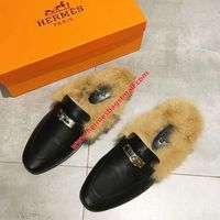 HERMES OZ MULE FUR CALFSKIN IN BLACK