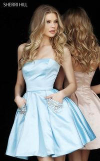 LIGHT BLUE SHORT SATIN HOMECOMING DRESS by SHERRI HILL 51390