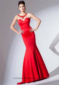 Tony Bowls TBE11525 Red Embellished Mermaid Evening Gowns