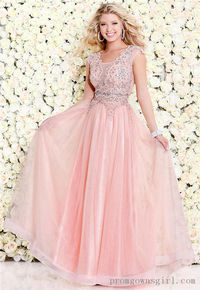 Shail K 4063 Lace Salmon Long Prom Dress