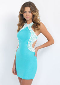 Short Sexy Little Turquoise White Beaded Halter Neck Homecoming Dress
