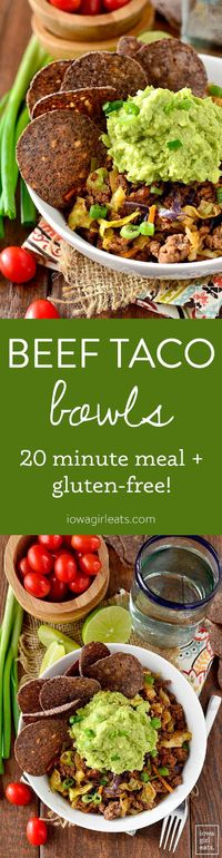 Beef Taco Bowls are a quick and healthy gluten-free dinner recipe. Takes just 20 minutes from fridge to table!