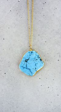 Raw Turquoise 14k Gold Filled Necklace by shopkei on Etsy, $52.00