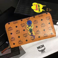 MCM Monkey Visetos Leather Long Wallet In Brown