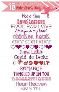 15 FREE Valentine's Day fonts for your Valentine's cards, printables and love decor