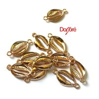 Pack of 10 Gold Colour Cowrie Shell Connector Charms. Hair & Jewellery Making Pendants. 28mm x 14mm £5.99